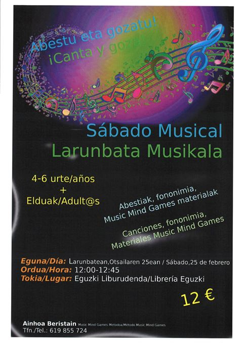 Taller Sábado Musical Librería Eguzki Liburudenda
